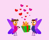 Valentine`s Day. Cartoon elf boy giving girl a gift box. Love cards. Red and pink fhearts. Romance concept Vector illustration ba royalty free illustration
