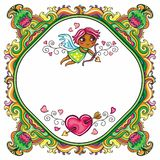 Valentine's Day cartoon floral farme Stock Image