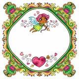 Valentine's Day cartoon floral farme Stock Image
