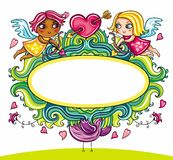 Valentine's Day cartoon floral farme Stock Photos
