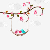 Valentine's Day celebration with cut love bird couple. Royalty Free Stock Images
