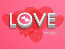Valentines Day celebration with 3D text and hearts. Royalty Free Stock Photo