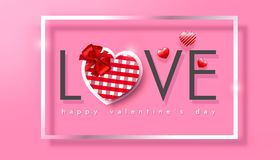 Valentine`s day, checkered heart with red bow in a white frame on a pink background, realistic vector illustration. Valentine`s day, checkered heart with red bow Royalty Free Stock Photos