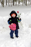 Valentine`s day child with rose and candy stock photography