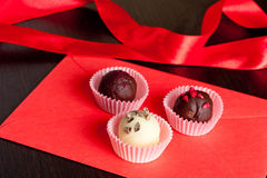 Valentine's Day chocolate gift set, horizontal, close up. Valentine's Day chocolate gift set Royalty Free Stock Photos