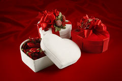 Valentines Day and Christmas chocolate box (on red. Valentines Day and Christmas chocolate boxes on a red background Stock Photos