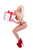 Valentine`s day or christmas concept - sexy woman in lingerie wi Stock Images
