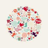Valentine`s day circle greeting card Royalty Free Stock Image