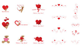 Valentine's Day Clip Art and Design Elements. Stylish and cute Valentine's Day decorations, clip art, call out buttons, dividers, borders or other design Stock Image
