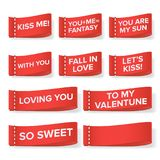 Valentine s Day Clothing labels Vector. Kiss Me, You Are My Sun, With You, Fall In Love, Let s Kiss, Loving You, So Stock Photo