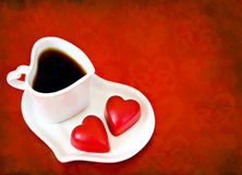 Valentine's Day coffee with chocolate hearts Stock Photo
