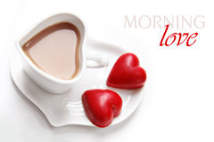 Valentine's Day coffee with heart chocolates Royalty Free Stock Photo