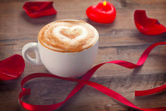 Valentine`s Day coffee with heart on foam Royalty Free Stock Photo
