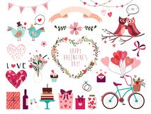 Valentine`s day collection with hand drawn decorative elements vector illustration