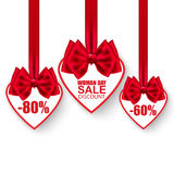 Valentine's day collection heart sale tag with bows Stock Image