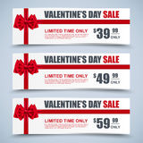 Valentine's day collection sale banners with bows Stock Photography