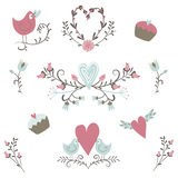 Valentine`s Day collection. Vector birds, hearts,flowers and other elements. Hand drawn. Simple and cute Royalty Free Stock Images