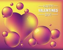 Valentine`s day colorful abstract background with heart and bright spheres. Romantic illustration is great for invitation, card, product packaging, header vector illustration