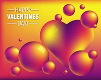 Valentine`s day colorful abstract background with heart and bright spheres. Romantic illustration is great for invitation, card, product packaging, header Royalty Free Stock Photos