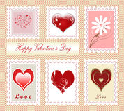 Valentine's day. Colorful collection of Valentine's day stamps , illustration Royalty Free Stock Photography