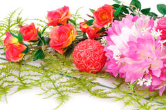 Valentine's day. Colorful flowers and candles on white background Royalty Free Stock Images
