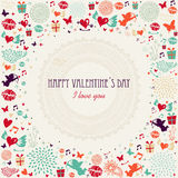Valentine`s day colorful greeting card Stock Images
