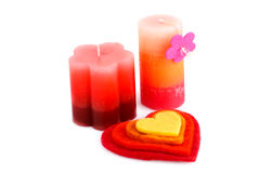 Valentine's day. Colorful hearts and candles isolated on white background Royalty Free Stock Image