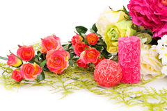 Valentine's day. Colorful roses and candles on white background Royalty Free Stock Image