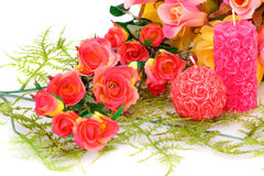 Valentine's day. Colorful roses and candles on white background Royalty Free Stock Photo