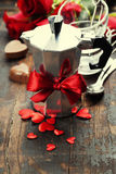 Valentine's day composition with coffee Royalty Free Stock Photo