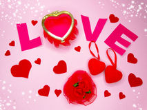Valentine`s day composition of gift boxes and hearts Stock Photography