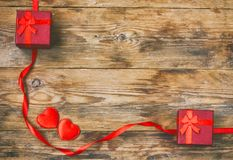 Valentine`s day composition, two red gift box, silk ribbon Royalty Free Stock Photography