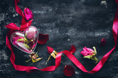 Free Valentine`s Day Composition With Dried Roses Royalty Free Stock Image - 85212356