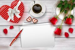 Valentine`s day composition on wooden table with heart shape objects and red roses. Valentine`s day table top view with heart shape gift box, cookies, coffee vector illustration
