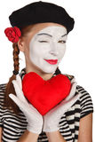 Valentine's day concept. Portrait of a mime, valentine day concept. Isolated over white background Stock Images
