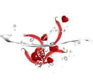 Valentine's Day Concept. Mix of red hearts and red pepper, very hot love royalty free illustration