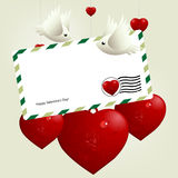 Valentine's Day Concept. Lovebirds flying around love hearts royalty free illustration