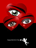 Valentine's Day Concept. Eyes and love hearts poster and small angel vector illustration