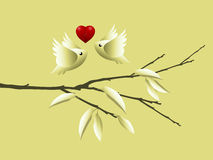 Valentine's Day Concept. Lovebirds flying togetherness around twig vector illustration