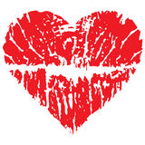 Valentine's day concept. Valentine's day heart made from lips print vector illustration