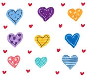 Valentine`s day concept background. Hand drawn illustration. Set of colorful hearts on white. Cute sale banner or