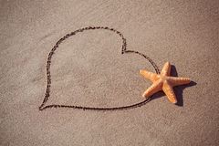 Valentine's day concept at beach. big orange starfish and drawn heart on sand texture. Stock Image