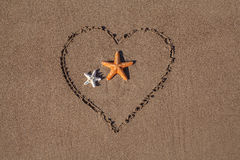 Valentine's day concept at beach. two starfish and drawn heart on sand texture. Royalty Free Stock Image