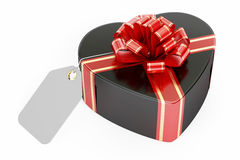 Valentine`s Day concept. Black gift box in the shape of heart wi. Th blank tag, 3D rendering on white background Royalty Free Stock Photos