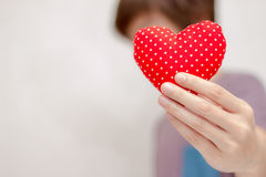 Valentine`s day Concept. Closeup of hands with heart. Say love Royalty Free Stock Photo