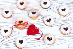 Valentine`s Day concept / cookie-shaped heart on a light backgro Royalty Free Stock Images