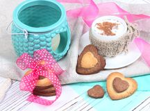 Valentine`s Day concept / cookie-shaped heart on a light backgro Stock Photos