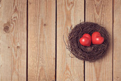 Valentine's day concept with couple of hearts in bird nest. Stock Image