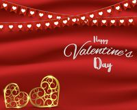 Valentine`s Day concept,flags and gold heart shape on red silk background with place for your text Royalty Free Stock Image