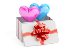 Valentine`s Day concept. Gift box with hearts, 3D rendering. On white background Stock Photography